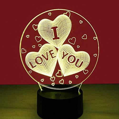 """3D-Nachtlicht mit der Aufschrift """"I Love You"""", bunt, mit USB-Tischlampe, Fernbedienung, Touch-Schalter, LED-Augenlicht, Geschenk"""