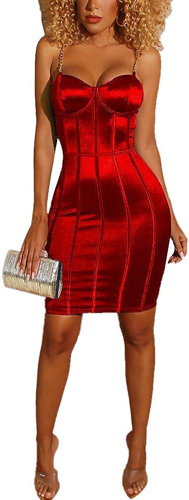 WenaZao Women's Sexy Bodycon Dress Sling Zipper Back Hollow Back Waist Slim Clubwear Dress