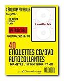 Secretansing® CD-Etiketten, selbstklebend, Durchmesser 117 mm + Loch 17 mm, 2 CD-/DVD-Etiketten...