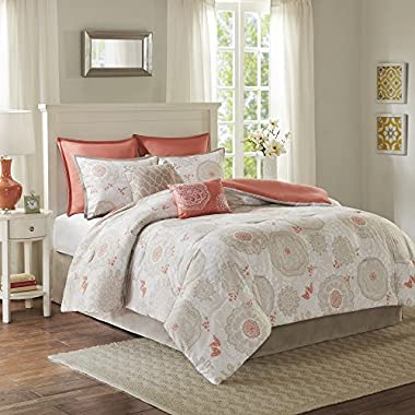 Comfort Spaces - Emily Comforter Set - 8 Piece - Coral - Floral Print - King Size, Includes 1 Comforter, 2 Shams, 2 Euro Shams, 1 Bedskirt, 2 Decorative Pillows