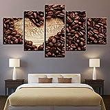 HJIAPO Quadri Moderni Stampa di Immagini Artistica Digitalizzata 5 Pezzi Tazza di caffè in Grani Tela Decorativa per Soggiorno O Stanza da Letto 5 Pezzi 150X80Cm