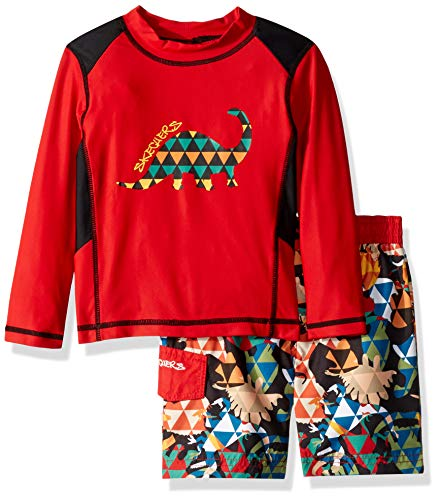 Skechers Boys' Little Swimsuit Bathingsuit Set with Swim Shirt & Trunks, red Abstract Dinosuar, 5