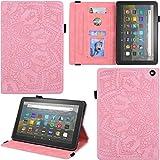 C/N DodoBuy Funda para tablet Fire HD 8/Fire HD 8 Plus (lanzamiento de 2020), diseño de mandala magnético Flip Smart Cover Wallet PU bolsa de cuero soporte multiángulo con ranuras para tarjetas - Rosa