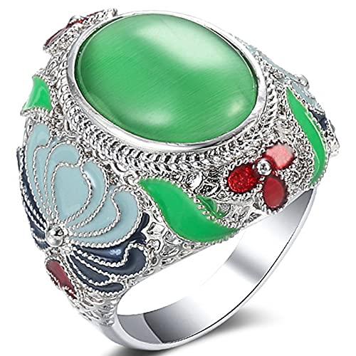 Ezzyso Flower Green Opal Anillo, Americana de Goteo de Aceite Retro de Aceite de Tallado de Color joyería de Anillo (2 PCS),8