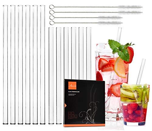 Annvchi Glas Strohhalme Wiederverwendbar - Transparent Breite Strohhalme aus Glas - Geeignet für Cocktail Glas - Gesund, Umweltschonend, frei von BPA