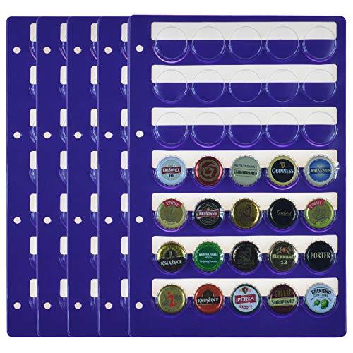 PELLER'S 5 Hojas de colección, Cada Página, champán, Cerveza, Corona. Fundas para Álbum, Extra Transparente, Modelo XL: 35 Departamentos para Tapas