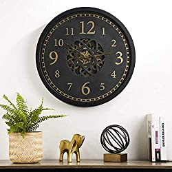 Glitzhome 22.83 D Metal Morden Oversized Silent Non-Ticking Wall Clock, Battery Operated Round Clock with Moving Gears Wall Decorative for Home Office School