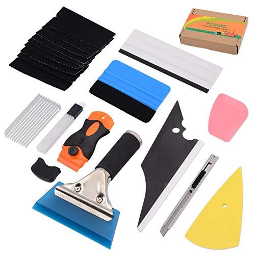 FOSHIO Profi Folierung Werkzeuge Set mit Schaber Rakel Messer Ersatzfilz und -Klingen Folien-Rakel mit Filzkante für Auto Folie, Car Wrapping