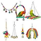 YOUTHINK Juguete para Loros, 7 Piezas de Juguetes para Columpios de Pájaros, Juguetes para Masticar Loros, Columpios para Pájaros Loros Hamacas Coloridas para Pájaros