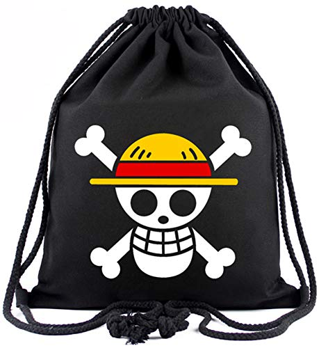 Roffatide Anime One Piece Luffy Straw Hat Pirates Drawstring Bag Printed Sports Sackpack Canvas Drawstring Backpack String Bag Black