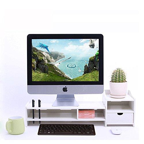 YUMU Monitorständer aus Holz platzsparendes Design Bildschirmständer Schreibtischaufsatz Bildschirmerhöhung MONITOR in weiß CY1076