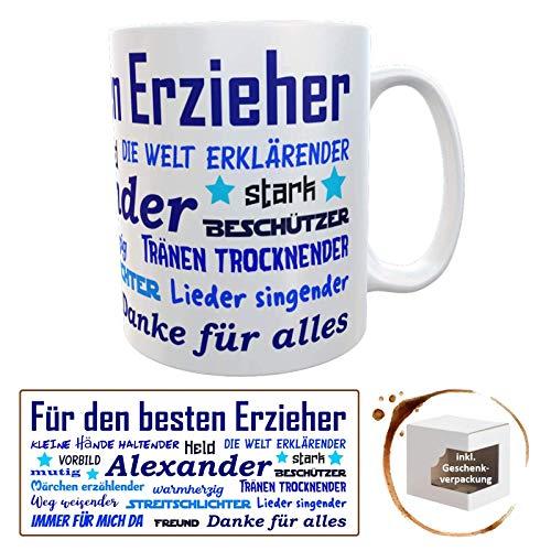 Danke-Tasse für Erzieher mit Wunschname für Kindergarten (blau Erzieher)