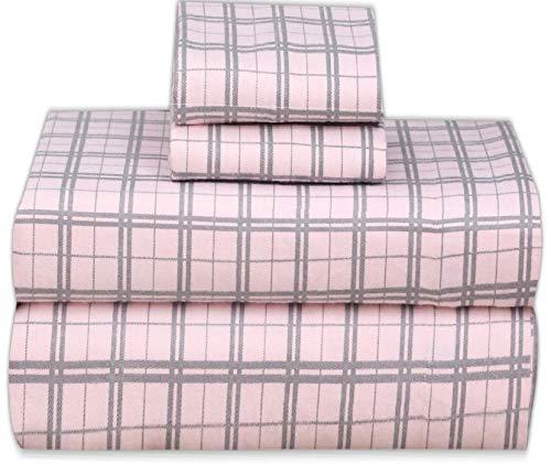 Ruvanti Flanell-Bettlaken-Set aus 100 % Baumwolle, King-Size-Größe, mit tiefen Taschen, warm, superweich und atmungsaktiv, Flanell-Bettlaken, Spannbetttuch, 2 Kissenbezüge Full rose