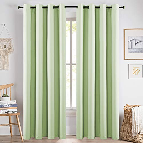 KEQIAOSUOCAI Kids Room Light Green Curtains 84 Inch Thermal Insulated Room Darkening Blackout Mint Green Curtains 1 Pair 52x84