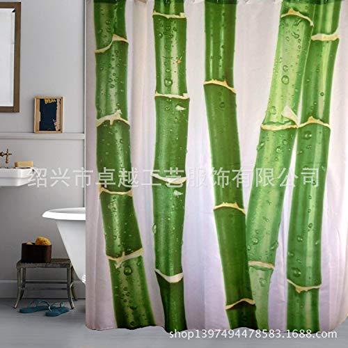 XZLWW Antischimmel douchegordijn, polyester douchegordijn landelijke stijl vrije vrije stansen badkamer hangen gordijn met grote bamboe stang druk douchegordijn