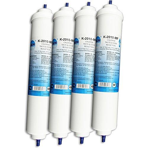 Wasserfilter für Samsung, LG, Side by Side Kühlschrank Filter extern. Schlauchanschluss ist fest integriert. 4-er Pack