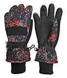N'Ice Caps Kids Cold Weather Waterproof Camo Print Thinsulate Ski Gloves (Black Geo, 13-15 Years)