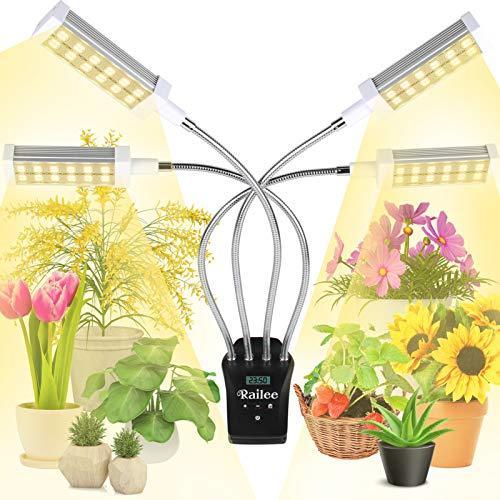 Railee Pflanzenlampe LED 192 LED Grow Lampe Vollspektrum Pflanzenleuchte Pflanzenlicht mit Digitaler Programmierbarer Timer Pflanzen Licht Wachstumslampe für Zimmerpflanzen mit 4 Modi 15 Lichtstärken