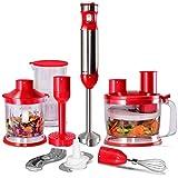 COSTWAY Mixeur Plongeant Electrique Inox 6 en 1, 240V-50HZ-1000W, Multifonction pour Bureau, Cuisine, Restaurant,65x420mm (Rouge)