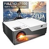 Artlii Stone 7500 Lúmenes, Proyector Full HD 1080P Nativo, Proyector Cine en Casa de 300' Soporta 4K, Compatible con USB/HDMI/SD/AV/VGA