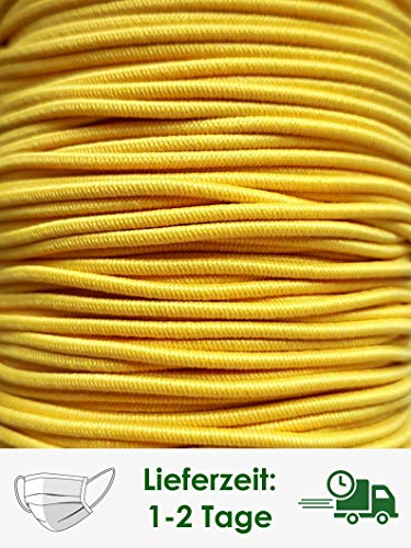 GIPFELWERK rubberen koord, ca. 1 mm | 3 meter mondbescherming zelf maken | Voldoende voor ongeveer 5-6 maskers | Rubberen band (geel)