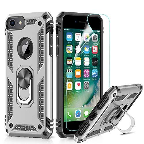 LeYi für iPhone SE 2020 Hülle,iPhone 7/8 Handyhülle,iPhone 6/6S Ringhalter Schutzhülle mit Schutzfolie,360 Ständer Rüstung Cover TPU Bumper für Case Apple iPhone 6/6S /7/8 Handy Hüllen Sliver