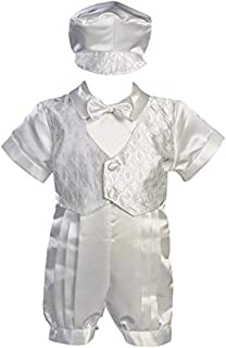 White Satin Christening Baptism Romper with Vest and Matching Hat - XS (0-3 Months)