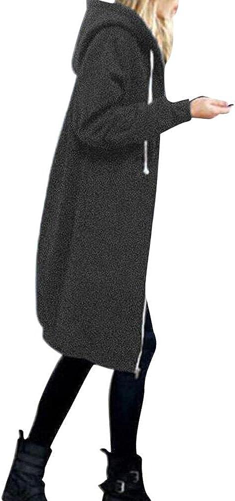 Women's Warm Zipper Open Hoodie Sweatshirt Long Coat Jacket Top Outwear Wool Trench Petite Hooded Windbreaker Overcoat