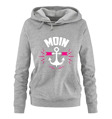Comedy Shirts - Moin - Anker - Damen Hoodie - Grau/Weiss-Pink Gr. XXL