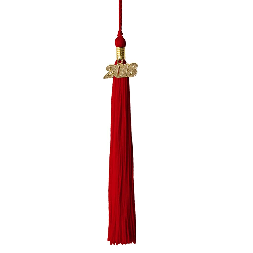 Red Graduation Tassel Year 2018 with gold charm