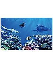 POPETPOP 3D Mundo Submarino Telón de Fondo Acuario Corales Fotografía de Fondo Submarino Telón de Fondo Pegatina Papel Tapiz Cartel Pecera Decoración 40X80 Cm