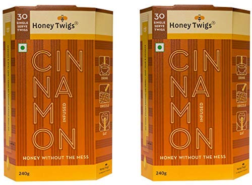 Honey Twigs Cinnamon Infused Honey - 240 GMS X 2 Packs / 60 Single Serves