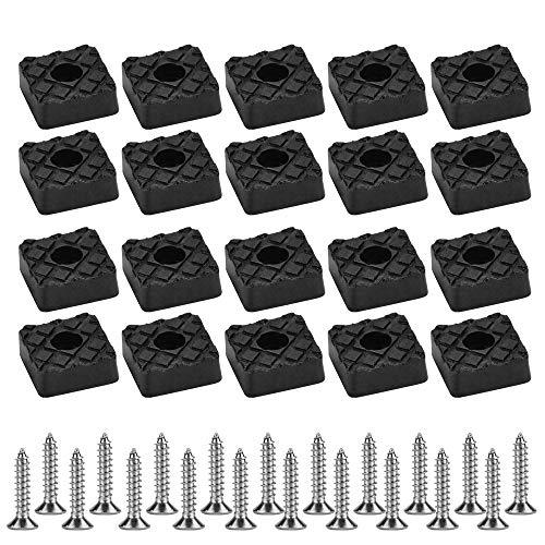 KBNIAN 20 PCS Schwarz Elastikpuffer Gummifüße Möbelfuß Auflagen Quadratisch Gummipuffer mit Schraube für Tisch Schrank Schreibtisch Couchs (22 * 22 * 8mm)