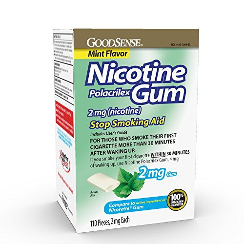 GoodSense Nicotine Polacrilex Gum 2mg, Mint Flavor, 110-count, Stop Smoking Aid, GoodSense Smoking Cessation Products