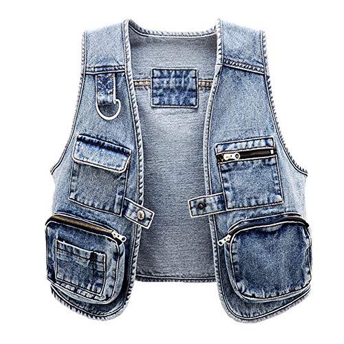 CYSTYLE Damen Multi-Tasche Jeansweste Ärmellos Frühling Sommer-Weste College Style Beiläufige Jeansweste Denim Weste (Blau, S)