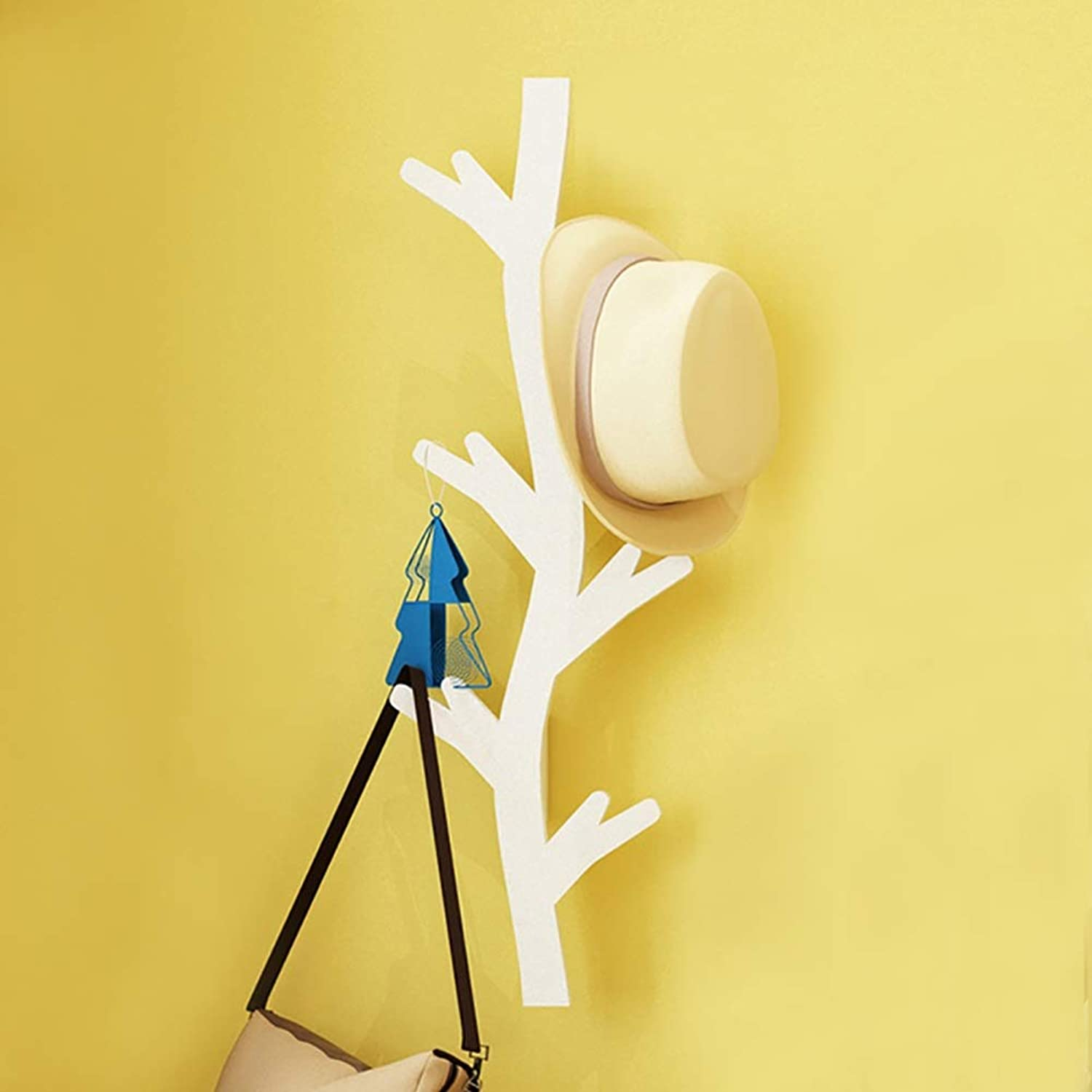 GuoWei Coat Hat Rack Wall-Mounted Wood Hat Hanging Tree Branch Hooks Organizer Entryway Hallway Living Room Bedroom (color   White, Size   40x78cm)