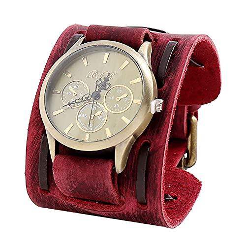 Shmtfa Reloj Vintage para Hombre Reloj De Pulsera De Cuarzo AnalóGico CronóGrafo No Resistente Al Agua con Correa De Cuero Duradera para DecoracióN De MuñEca De Todo Partido(Rojo)