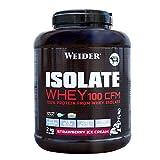 Weider Isolate Whey 100CFM. 100% aislado de proteina de suero. Cero azúcar, cero aspartamo, con stevia, con dygezime, con BCAA, apto para vegetarianos. Isolac. Para dietas keto. 2000 gr Fresa