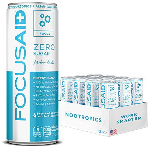 FOCUSAID ZERO SUGAR Energy Blend, Nootropics, Alpha-GPC, GABA, B-Complex, Yerba Mate, Green Tea, 100mg Natural Caffeine, Keto-Friendly, No Artificial Flavors or Sweeteners
