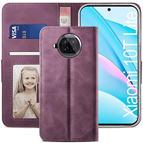 YATWIN Handyhülle Xiaomi Mi 10T Lite 5G Hülle, Klapphülle Xiaomi 10T Lite 5G Premium Leder Brieftasche Schutzhülle [Kartenfach] [Magnet] [Stand] Handytasche Hülle für Xiaomi Mi 10T Lite 5G, Weinrot