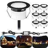 Juego de 6 focos LED empotrables para suelo en exteriores, 1 W, diámetro de 45 mm, IP67, resistente al agua, para terraza, jardín, color negro