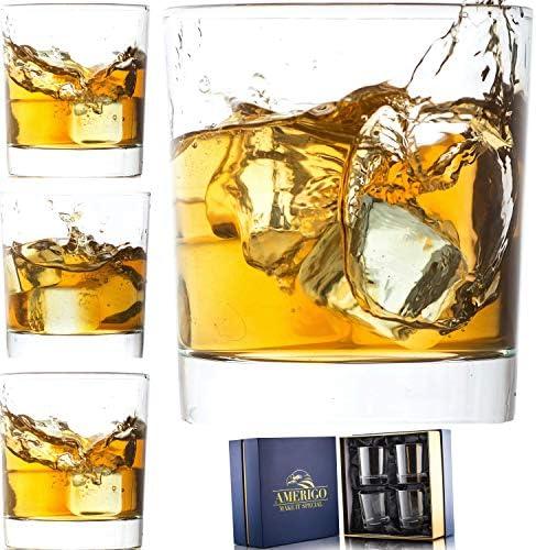 Amerigo Crystal Whiskey Glass Set of 4 in Luxury Gift Box Heavy Base Old Fashioned Whiskey Glasses product image