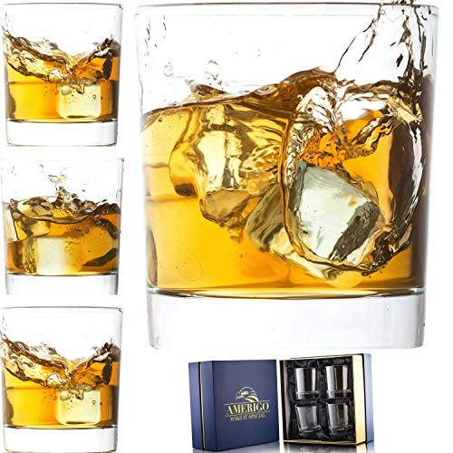 Amerigo Cristal Whisky Set De 4 En Caja De Regalo De Lujo - Base Pesada Vasos De Whisky 12oz - Whisky De Regalo para Los Hombres - Vasos De Cristal - Regalo del Día del Padre - Set De Bar En C