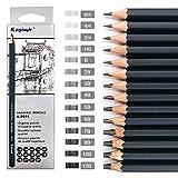 Juego de 14 lápices de grafito graduados, 8B, 7B, 6B, 5B, 4B, 3B, 2B, B, B, HB, F, H, 2H, 2H,...