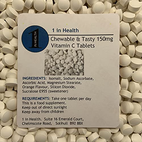 30 x Chewable & Tasty Vitamin C 150mg Tablets - Great for Kids - Grip Sealed & Healthy Fresh - Fast & Free Same Day Dispatch (180)