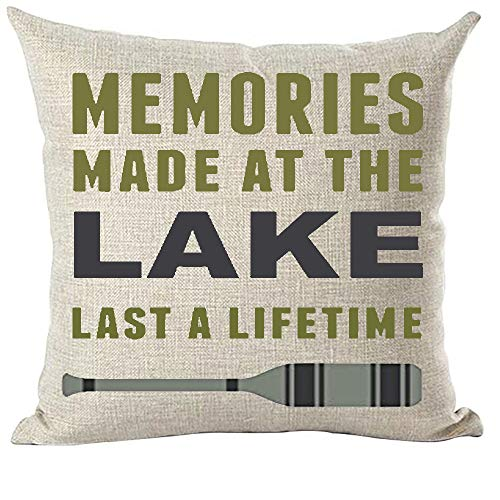 ramirar Green Blue Word Art Quote Memories Made at The Lake Last A Lifetime Paddle Decorative Throw Pillow Cover Case Cushion Home Living Room Bed Sofa Car Cotton Linen Square 18 x 18 Inches