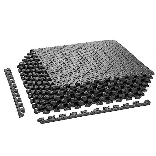 papababe Puzzle Exercise Mat with EVA Foam Interlocking Tiles for MMA Exercise, Gymnastics and Home Gym Protective Flooring, 1/2'' Thick, 24 Square Feet
