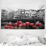 ABAKUHAUS Schwarz & weiß Wandteppich & Tagesdecke, Amsterdam-Kanal, aus Weiches Mikrofaser Stoff Wand Dekoration Für Schlafzimmer, 230 x 140 cm, Schwarz Weiß & Rot