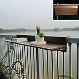 Folding table Mesa de balcón Mesa de Madera Maciza Mesa Plegable barandilla Colgante, Mesa de jardín de Altura Ajustable, para barandilla de balcón, marrón