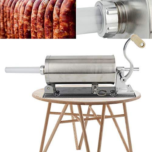 Berkalash 5LBS Wurstfüller, Horizontale Küche Aluminium Wurstfüllmaschine, Wurstspritze+4 Füllrohre Ø17-29mm, Handkurbel
